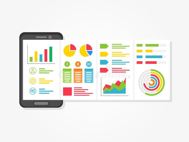 Presentatie app met grafieken, diagrammen creatief concept royalty-vrije illustratie