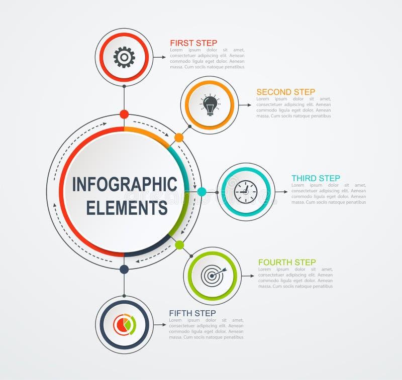 Presentatie bedrijfs infographic malplaatje met 5 opties Bedrijfsconcept met geïntegreerde cirkels vector illustratie