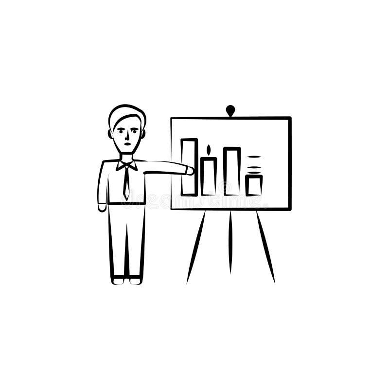 presentatie, bedrijfshand getrokken pictogram Overzichtsknopontwerp van bedrijfsreeks royalty-vrije illustratie