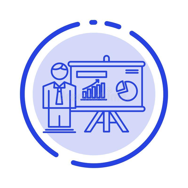 Presentatie, Bureau, Universiteit, Professor, het Blauwe Pictogram van de Gestippelde Lijnlijn royalty-vrije illustratie