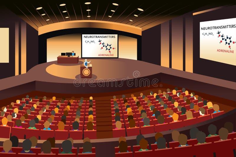 Presentatie in een conferentie in een auditorium stock illustratie