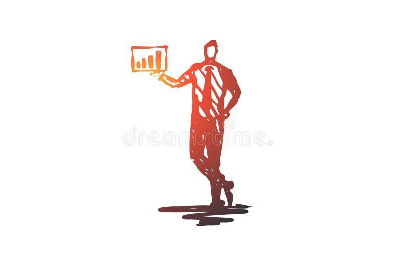 Presentatie, mens, grafiek, zaken, grafisch concept Hand getrokken geïsoleerde vector stock illustratie