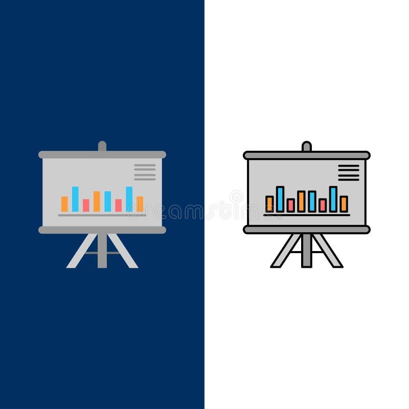 Presentatie, Project, Grafiek, Zaken, Pictogrammen Vlak en Lijn vulde Pictogram Vastgestelde Vector Blauwe Achtergrond royalty-vrije illustratie