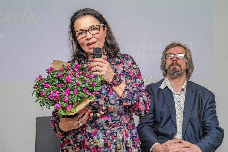 Presentatie van het boek 'Mijn vriend Lapinskas door Russische schrijver V Ogarkov over Litouwse ambtenaar en deporter stock afbeelding