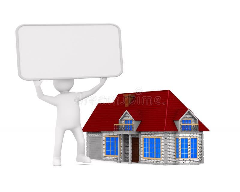 Presentatie van nieuw huis Geïsoleerde 3d illustratie vector illustratie