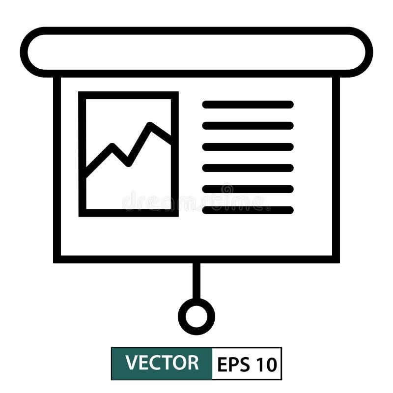 Presentatiepictogram lijnstijl Ge?soleerdj op witte achtergrond Vector illustratie Eps 10 vector illustratie