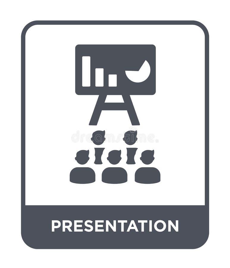 presentatiepictogram in in ontwerpstijl Presentatiepictogram op witte achtergrond wordt geïsoleerd die eenvoudig presentatie vect vector illustratie