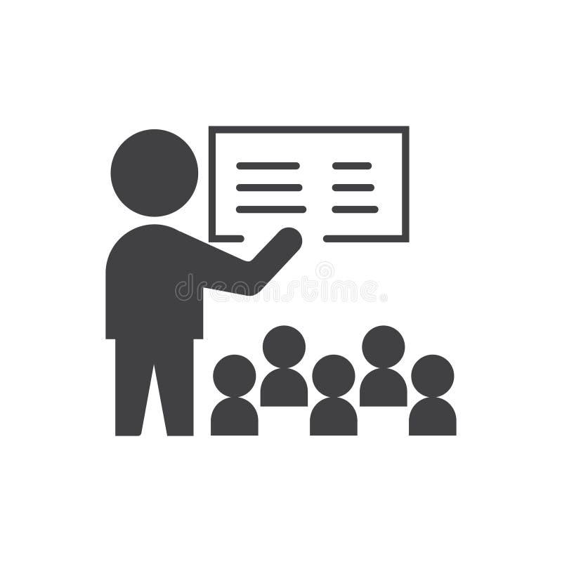 Presentatiepictogram vectortekensymbool met leraar of werkgever en student of werkgever royalty-vrije illustratie
