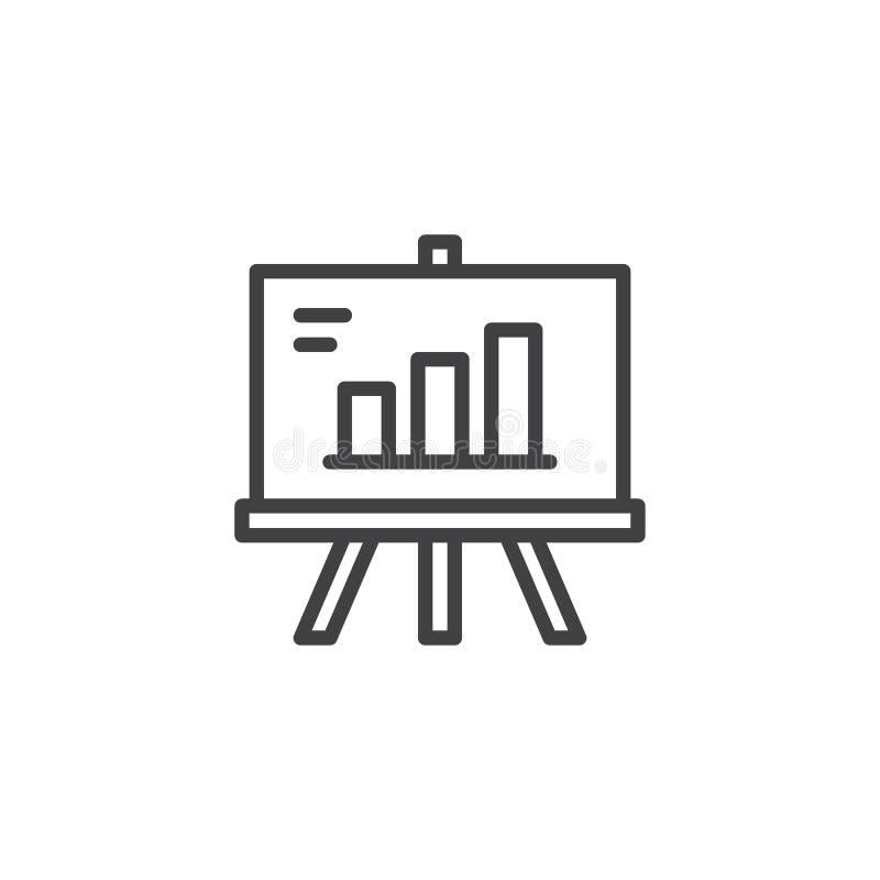 Presentatieraad met het kweken van het pictogram van het grafiekoverzicht stock illustratie
