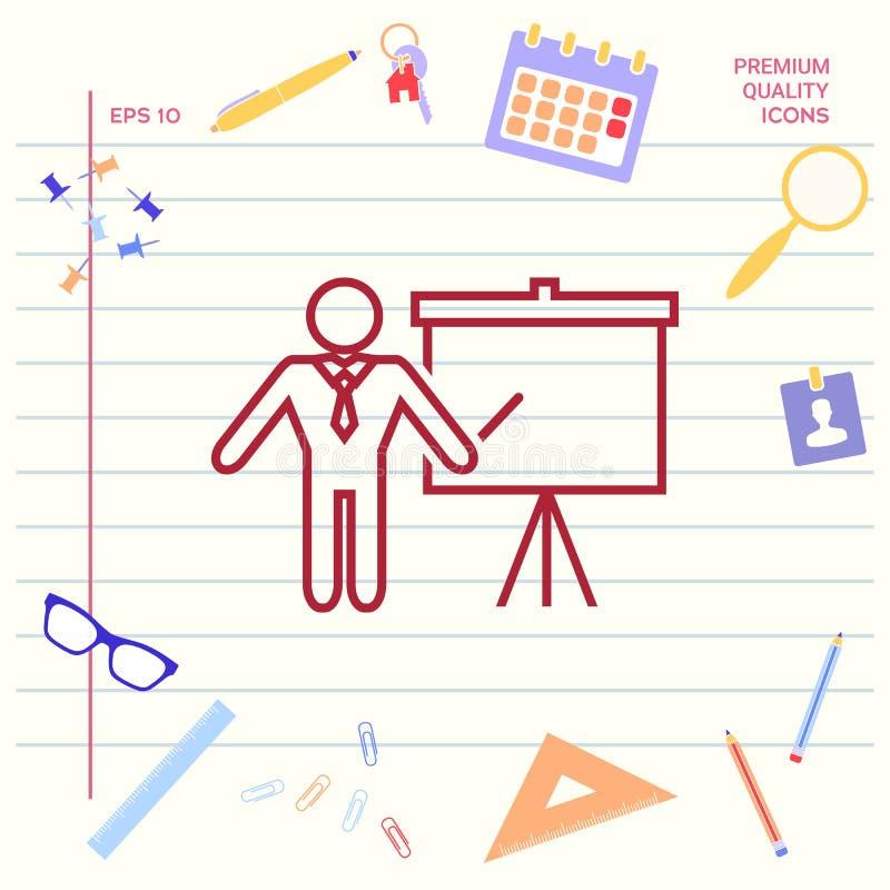 Presentatieteken - lijnpictogram Mens die zich met wijzer dichtbij de tikgrafiek bevinden Leeg leeg aanplakbordsymbool grafisch vector illustratie