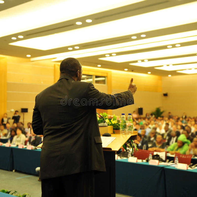 During the presentation royalty free stock photo