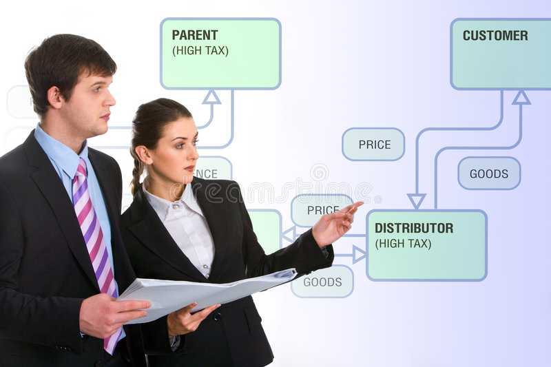 Presentation. Image of successful business people doing a presentation