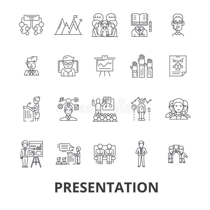 Presentation affär, presentatör, möte, konferens, seminarium, högtalare, anförandelinje symboler Redigerbara slaglängder plant vektor illustrationer