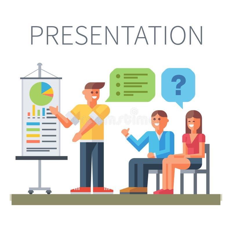 presentation Affär tre personsisolated på vit royaltyfri illustrationer