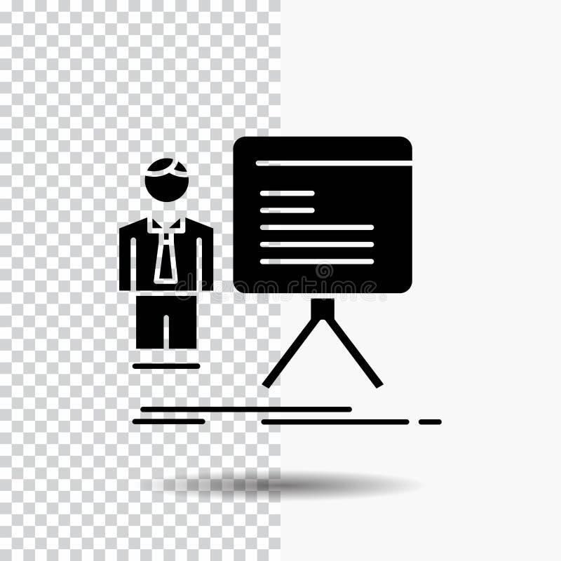 presentation affärsman, diagram, graf, framstegskårasymbol på genomskinlig bakgrund Svart symbol stock illustrationer