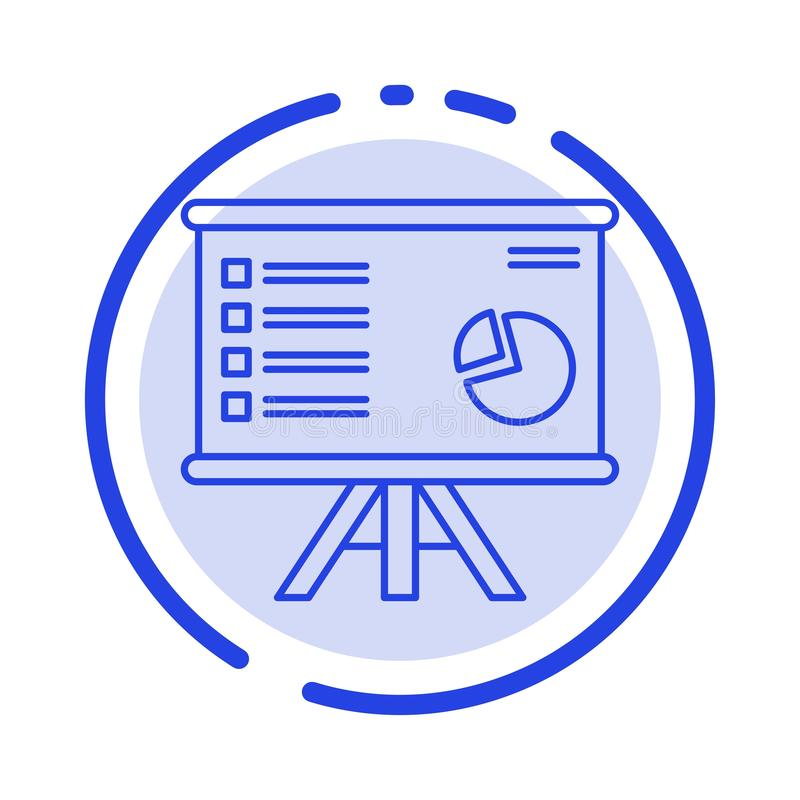 Presentation, Analytics, Business, Chart, Graph, Marketing, Report Blue Dotted Line Line Icon stock illustration