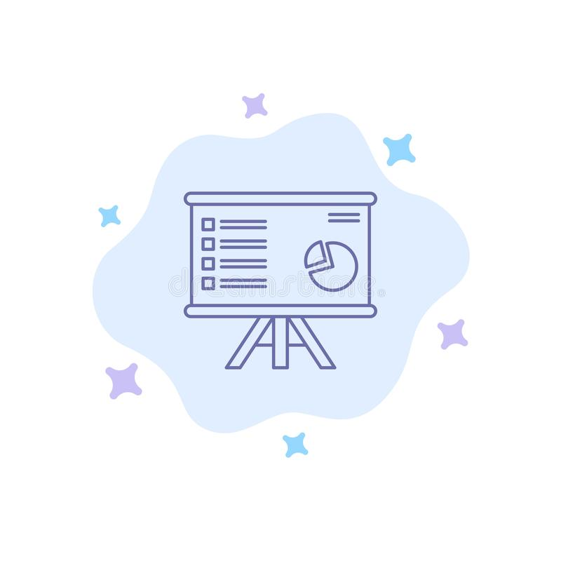Presentation, Analytics, Business, Chart, Graph, Marketing, Report Blue Icon on Abstract Cloud Background stock illustration