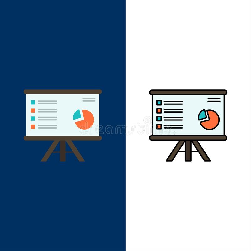 Presentation, Analytics, Business, Chart, Graph, Marketing, Report  Icons. Flat and Line Filled Icon Set Vector Blue Background royalty free illustration