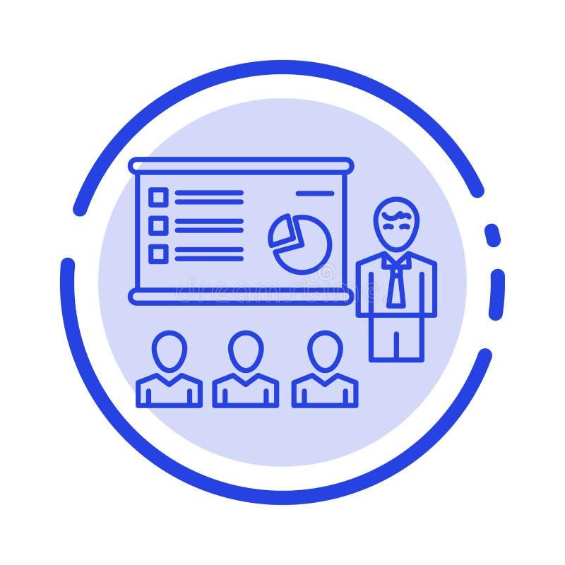 Presentation, Analytics, Business, Graph, Marketing, People, Statistics Blue Dotted Line Line Icon stock illustration