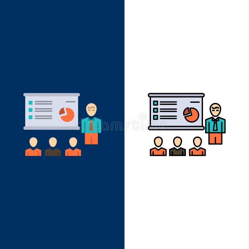 Presentation, Analytics, Business, Graph, Marketing, People, Statistics  Icons. Flat and Line Filled Icon Set Vector Blue. Background stock illustration