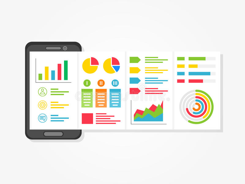 Presentation app with charts, diagrams creative concept royalty free illustration