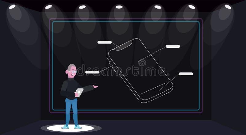 Presentation av den nya mobiltelefongrejapparaten stock illustrationer