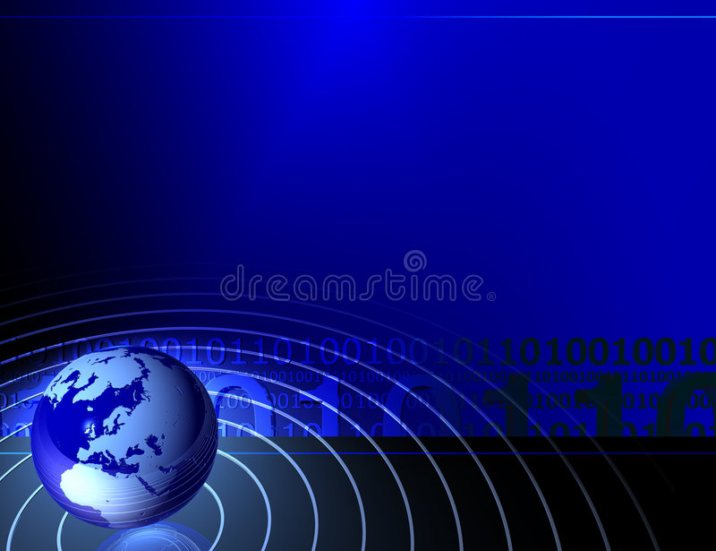 Presentation background. With globe and binary code 0101, check my other renders and make sure your content filter is OFF royalty free illustration