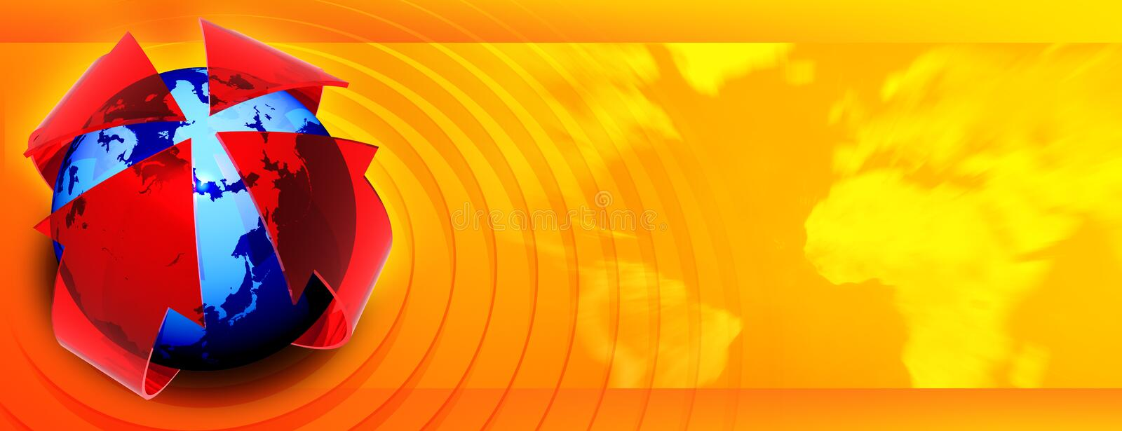 Presentation banner. With globe and circles over map of the world, check my other renders and make sure your content filter is OFF royalty free illustration