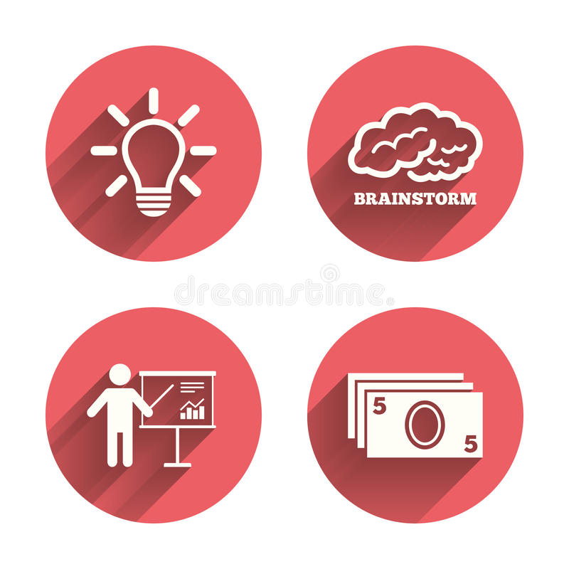 Presentation billboard, brainstorm. Cash money stock illustration