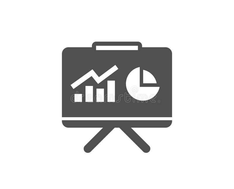 Presentation board simple icon. Report chart sign. Presentation board simple icon. Report chart or Sales growth sign. Analysis and Statistics data symbol royalty free illustration