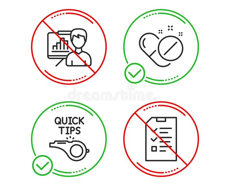 Presentation board, Tutorials and Medical pills icons set. Interview sign. Growth chart, Quick tips, Drugs. Vector. Do or Stop. Presentation board, Tutorials and stock illustration