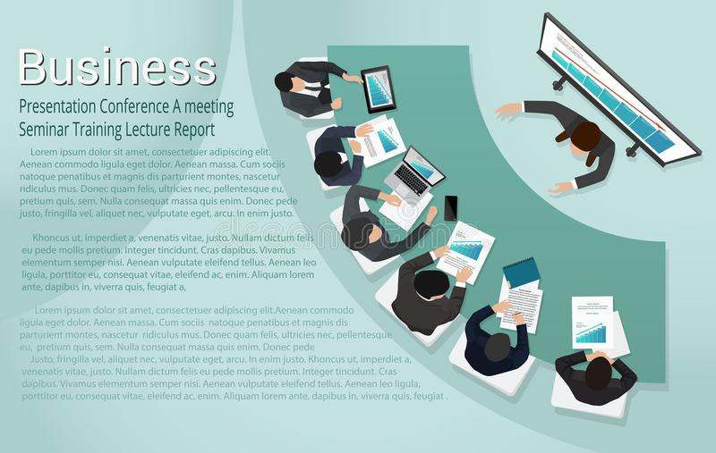 Presentation Business conference Report Meeting Training Seminar Lecture. Business man conducting a presentation seminar lecture training vector illustration