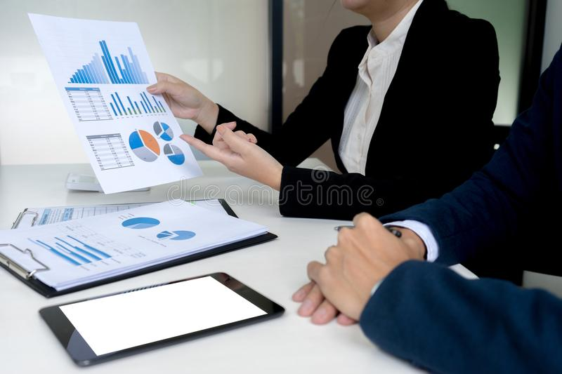 presentation in business group meeting royalty free stock photo