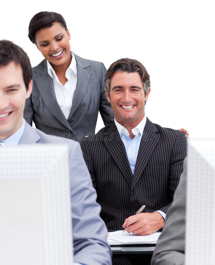 Presentation of a business team at work royalty free stock photos