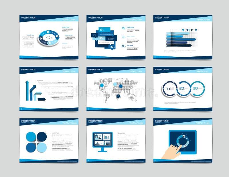 9 presentation business templates. Infographics for leaflet, poster, slide, magazine, book, brochure, website, print. royalty free illustration