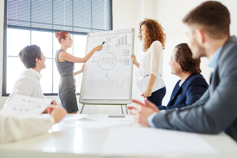 Presentation in consulting seminar. About business strategy royalty free stock photos
