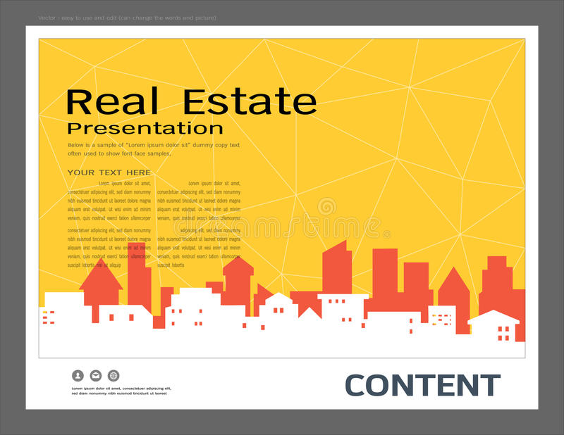Presentation design template, City buildings and real estate concept, Vector modern background. To brochure, annual report, flyer - leaflet, magazine, poster royalty free illustration