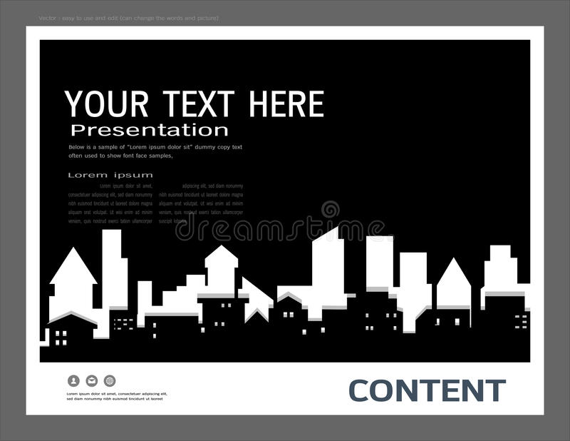 Presentation design template, City buildings and real estate concept, Vector modern background. To brochure, annual report, flyer - leaflet, magazine, poster stock illustration