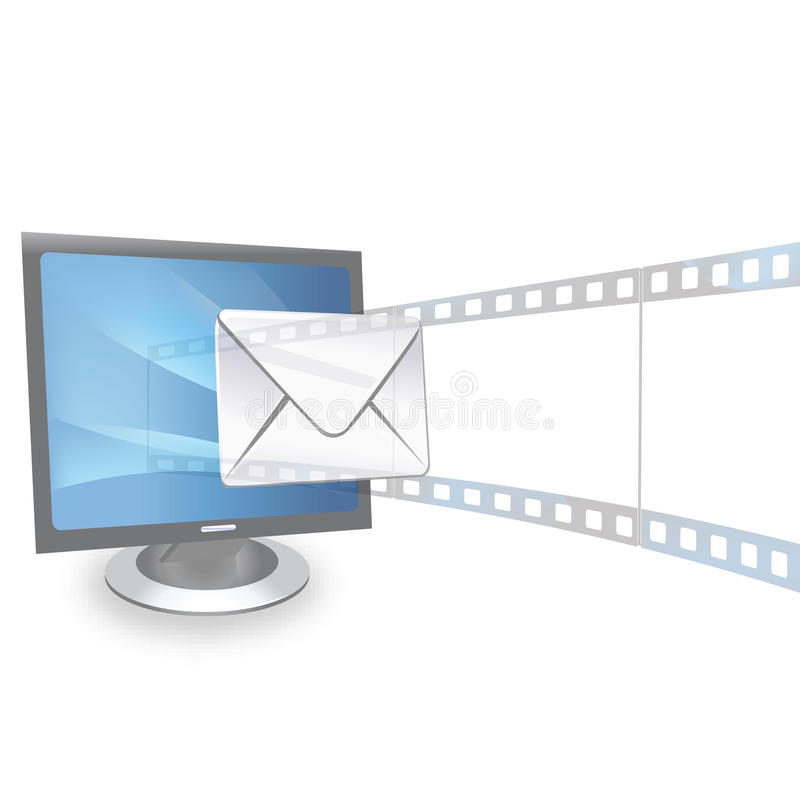 Presentation and email from monitor royalty free illustration