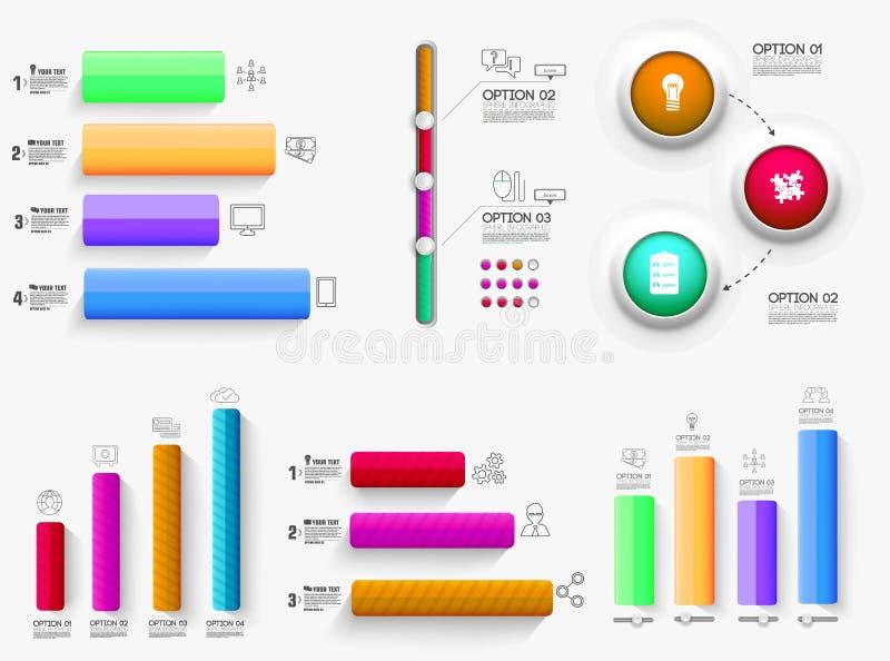 presentation för affär för diagram för diagram 3d Realistiskt begrepp för vektorillustrationdesign Ställ in av lodisar för graf f stock illustrationer