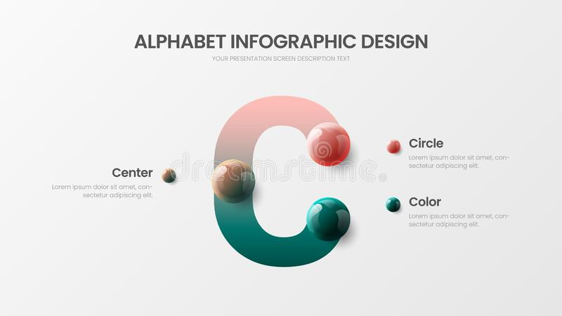 Presentation för bollar 3D för vektoralfabet infographic realistisk färgrik För symboldiagram för modern konst C mall för visuali stock illustrationer