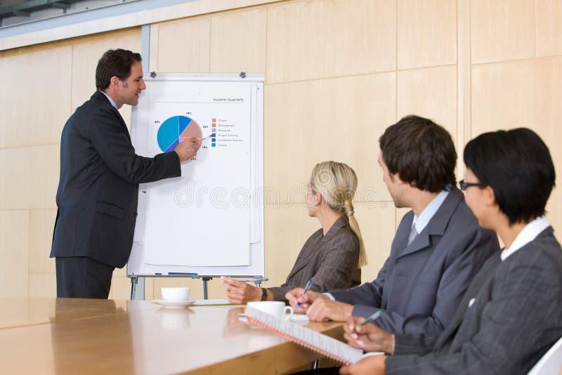 presentation för man för affärscoll säker geende till royaltyfria bilder