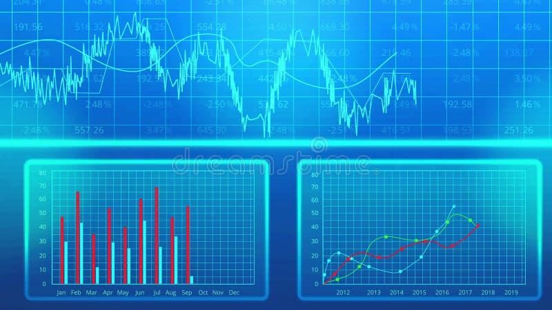Presentation för plan för företags affär, statistik för företag för visning för stångdiagram stock illustrationer