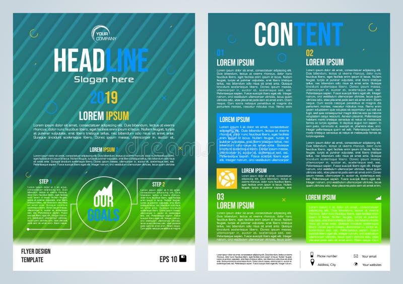 Presentation för vektorreklamblad, för företags affär, årsrapport-, broschyrdesign- och räkningsi grön och blå färg med färgrikt vektor illustrationer