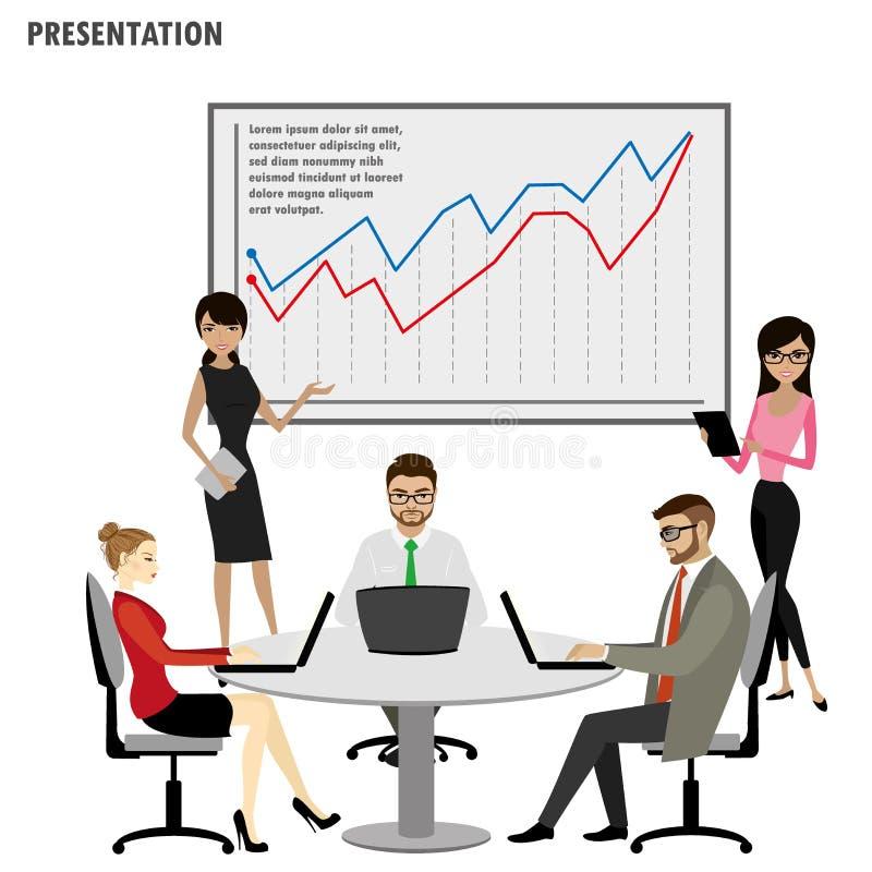 Presentation Flip Chart Finance, nolla för grupp för affärsfolk royaltyfri illustrationer