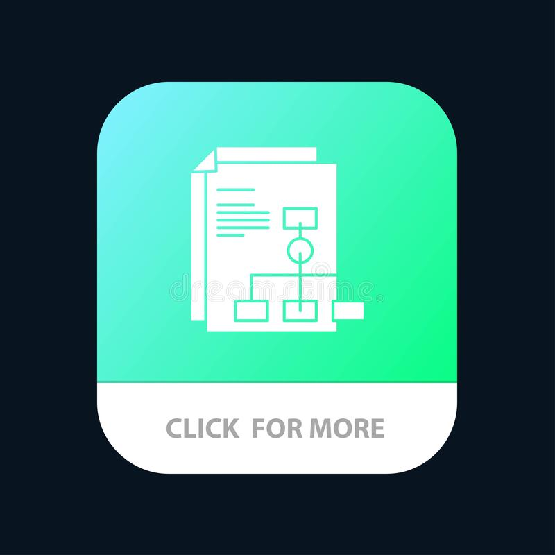 Presentation, Graph, Invoice, Report Mobile App Button. Android and IOS Glyph Version royalty free illustration