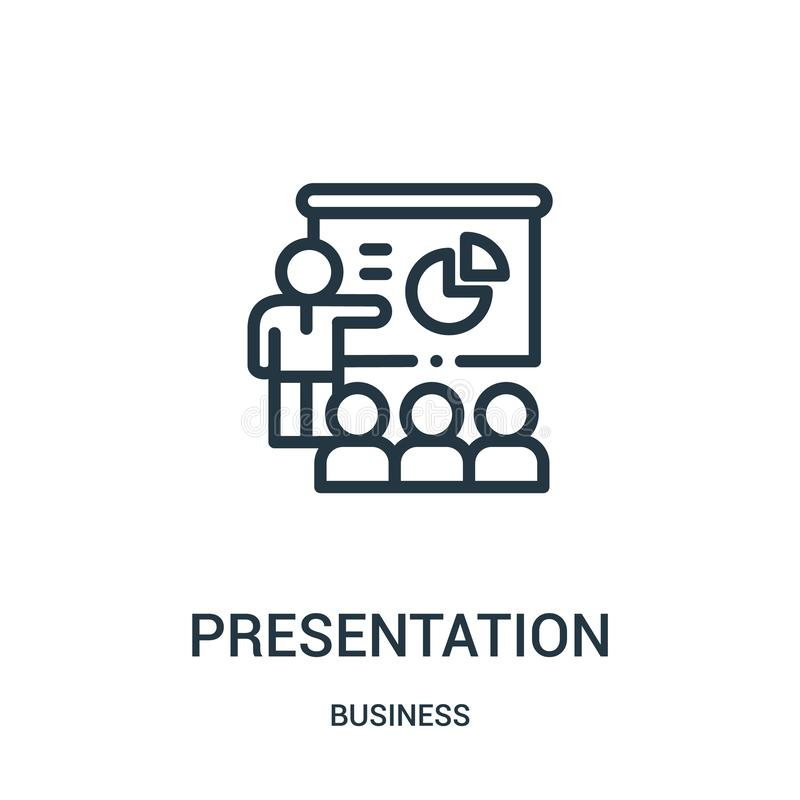presentation icon vector from business collection. Thin line presentation outline icon vector illustration. Linear symbol royalty free illustration