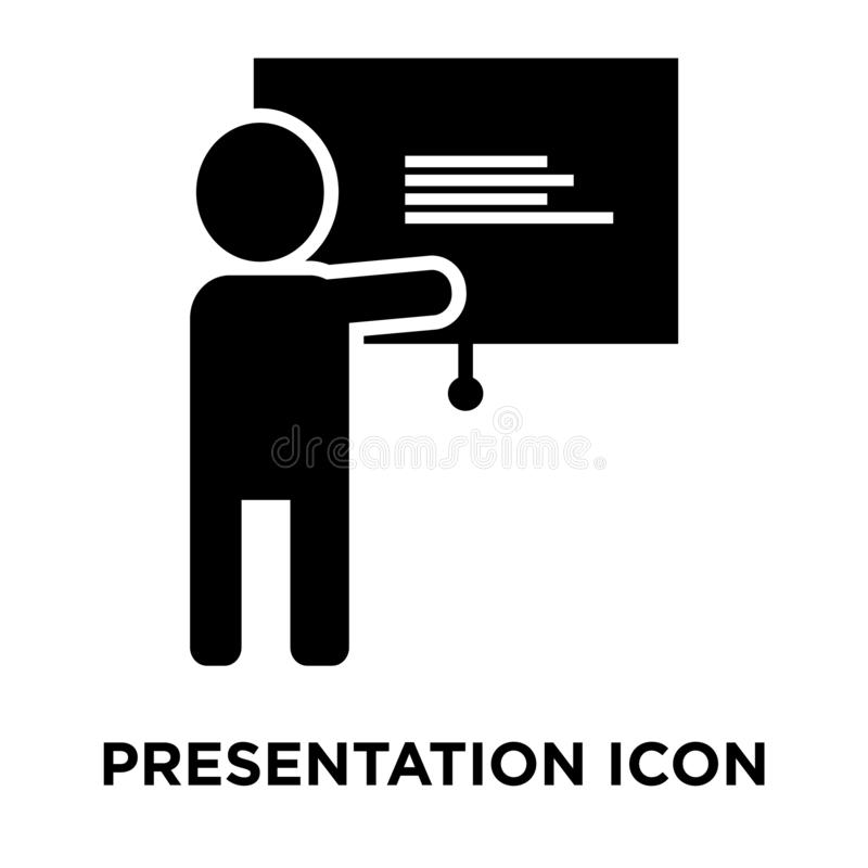 Presentation icon vector isolated on white background, logo concept of Presentation sign on transparent background, black filled royalty free illustration