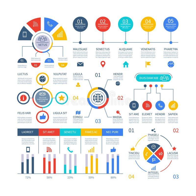Presentation infographics. Flowchart timeline process chart, organization workflow, number option diagrams. Infographic. Vector set. Illustration of business vector illustration