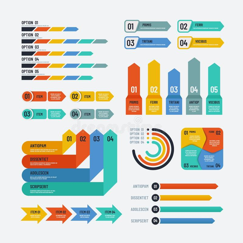 Presentation infographics. Flowchart timeline process chart workflow option diagrams. Infographic vector elements stock illustration